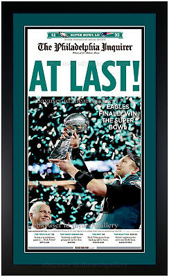 Philadelphia Eagles Super Bowl LII Champions Inquirer Newspaper Framed 2-5-2018