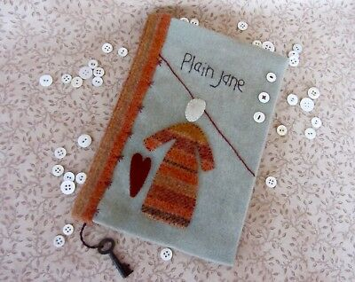 Primitive Wool Applique-Embroidery Plain Jane Dotted Journal wRemovable Cover
