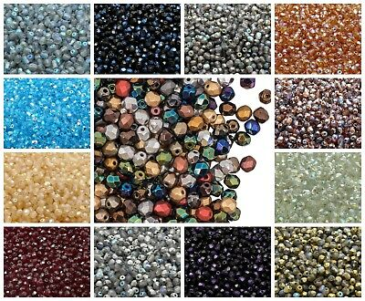 CHOOSE COLOR 100pcs 4mm Fire Polished Round Beads Czech Glass