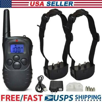 330Yard 2 Dog Pet Electric Shock Training Collar Waterproof Rechargeable Remote