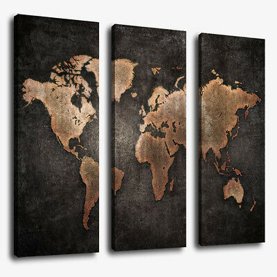 3 Panels Large World Map Modern Canvas Picture Print Wall Art Home Decor