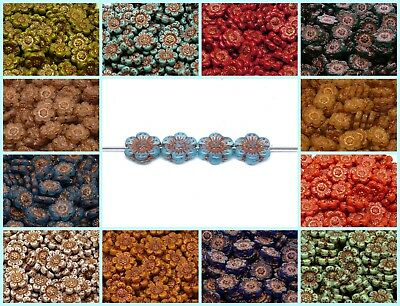 CHOOSE COLOR 4pcs 14mm Flower Beads Czech Pressed Glass