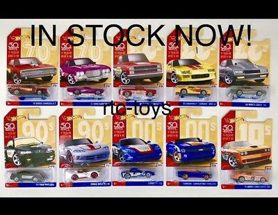 Hot Wheels 50th Anniversary Throwback Series Set Of 10Camaro'83 Silverado2018
