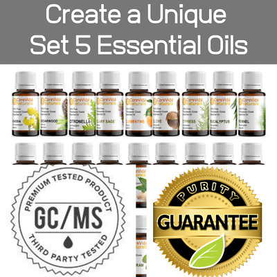 Essential Oil Kit Create Your Own Oil Set of 5 Aromatherapy Diffuser Oils 0-3oz
