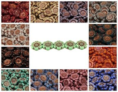 CHOOSE COLOR 4pcs 18mm Flower Beads Czech Glass