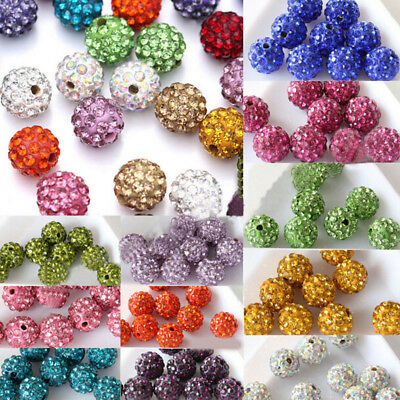 Wholesale 20pcs micro pave disco crystal beads bracelet spacer 810mm
