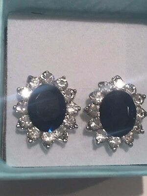 Kate Middleton Simulated Sapphire - CZ earrings 3-10