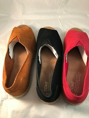 Toms Womens Alpargata Open Toe Suede Slip On Shoes NEW IN POUCH