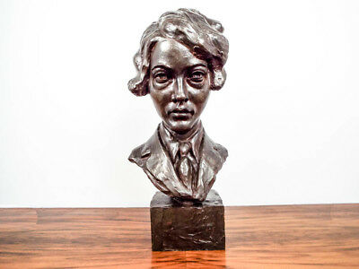 Rare Vintage Curtis Amelia Earhart Aviator Sculpture Signed Rudier Bust Statue
