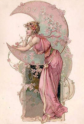 Lady in Pink  Pink Moon and Flowers by Alphonse Mucha