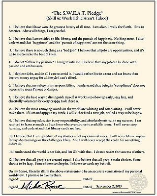 Mike Rowe S-W-E-A-T- Skills - Work Ethic Arent Taboo Poster