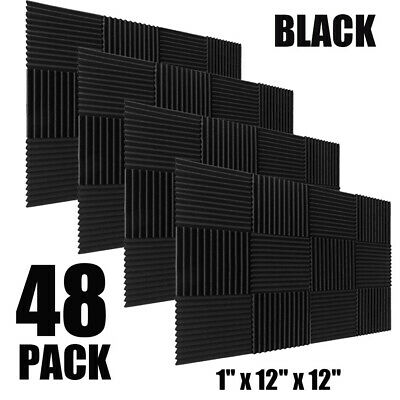 48 Pack 12 X 12 X 1Acoustic Foam Panel Wedge Studio Soundproofing Wall Tiles
