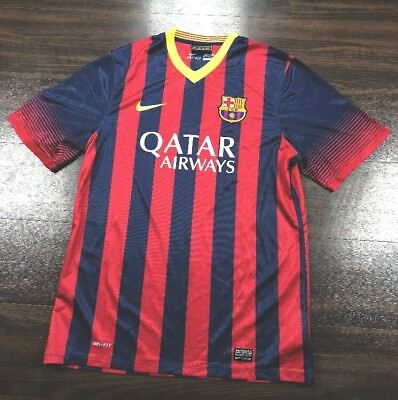 Nike Dri-Fit FC Barcelona Striped Home Jersey XL SS Custom Name Brian