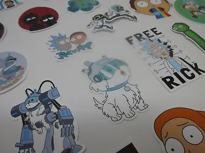 RICK AND MORTY TV Show Vinyl Waterproof Glossy Decals STICKERS NEW 40 ct