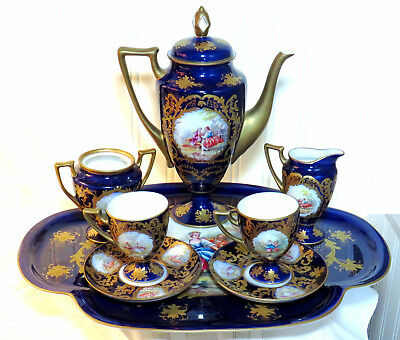 Limoges Cobalt Blue and Gold Tea or Coffee Set for 2-Hand Painted and signed by