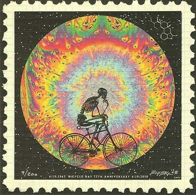 Emek Bicycle Day 75th Anniversary Blotter Art - Signed and Numbered