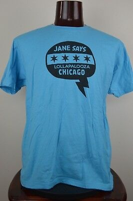 Jane Says Lollapalooza Chicago XL Mens Graphic T Shirt Blue Short Sleeves