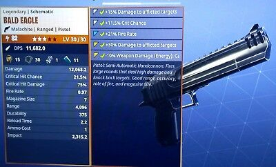 FORTNITE BALD EAGLE -50 CAL with ENERGY  AFFLICTION Power LvL 82 Xbox One - PC