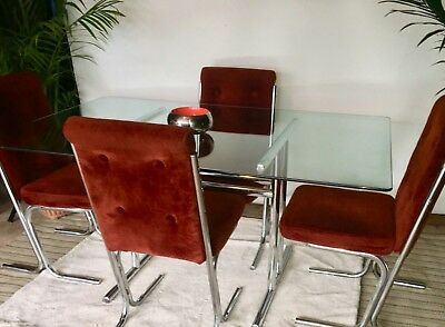 Mid Century Modern Glass Chrome Dining Table w 4 Chairs