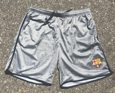 FC Barcelona Gray Official Soccer Futbol Shorts Men's XL Practice Logo