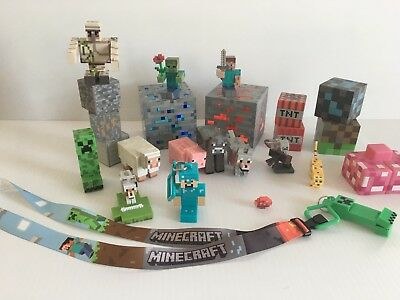 LOT of MINECRAFT toys Steve Animals light up diamond - redstone Ore keychain
