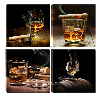 Canvas Wall Art Prints Painting Pictures Photo Home Decor Bar Wine Cigar Brown