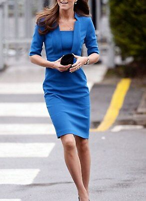 Kate Middleton Wrinkle Based Top Collar Neck Knee Length Dress - KMWD189