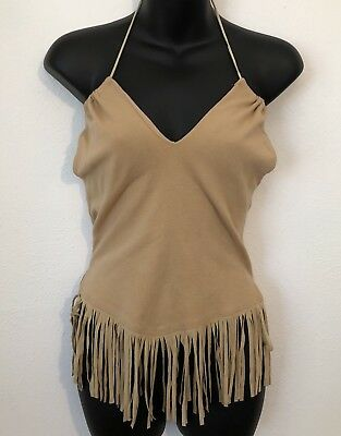 Wet Seal Womens Fringe Sleeveless Summer Top Tan Size Medium