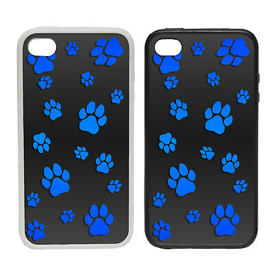 PAW PATTERN BLUE RUBBER AND PLASTIC PHONE COVER CASE 2