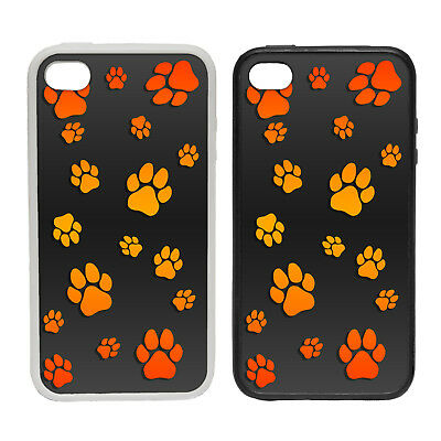PAW PATTERN ORANGE RUBBER AND PLASTIC PHONE COVER CASE 2