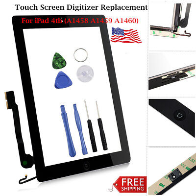 For Apple iPad 4th Touch Screen Glass Digitizer Replacement Lot A1458 1459 A1460