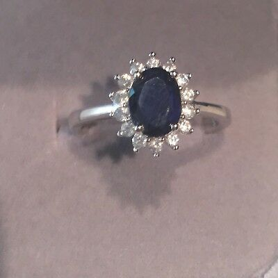 Kate Middleton Genuine 2 ct- Sapphire Engagement Ring Estate Piece Sterling