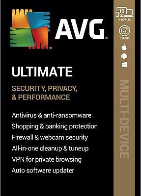 AVG ULTIMATE 2021 - FOR 10 DEVICES - 2 YEAR - NOW INCLUDES SECURE VPN - DOWNLOAD