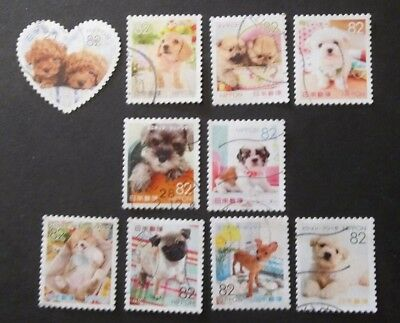 JAPAN USED 2015 PUPPIES 82 yen 10 VALUE VF COMPLETE SET SC 3949 a - j