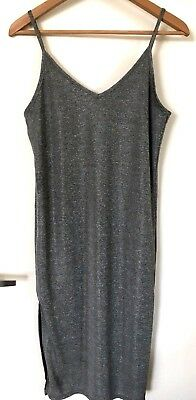 Womens Metallic Silver Wet Seal Side Slit Midi Dress SZ S Occasion Bodycon
