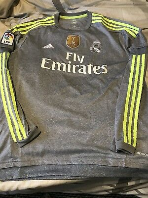 Ronaldo Real Madrid away grey green long sleeve    XL jersey season 13-14