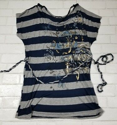 Wet Seal XL Long Belted Tshirt Top Gray and Navy Stripes