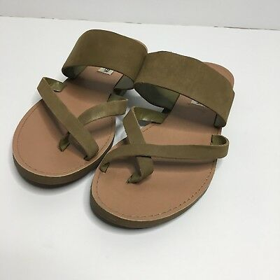 Steve Madden Slip on Sandals Flat Strappy Tan Leather Henley size 7-5