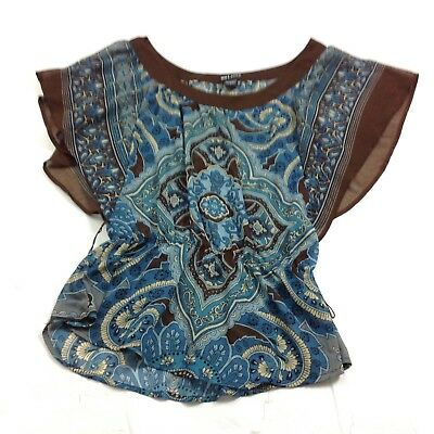 Wet Seal A1 Womens Chiffon Peplum Blouse Top Size S Blue Brown Unlined Kimono