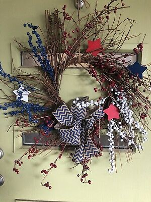 Fourth of July wreath- Festive Whimsical Patriotic Door Wreath FREE SHIPPING