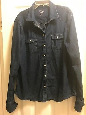 AMERICAN EAGLE OUTFITTERS Dark Blue Wash Favorite Fit LS Chambray Shirt XL