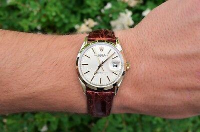 MINT 1978 VINTAGE MENS ROLEX DATE GOLD SHELL STAINLESS STEEL SILVER WATCH 1550