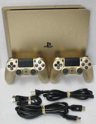 Sony PlayStation 4 PS4 Slim 1TB Gold Console w 2 Gold Controllers