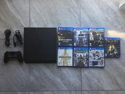 Sony PlayStation 4 bundle PS4 Black 500GB  1controller-7 games -tested