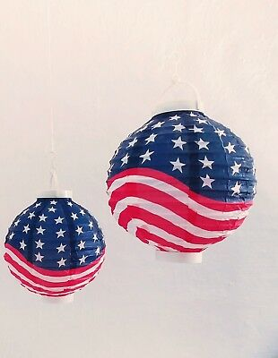 Fourth of July Paper Flag Lanterns LED 8 set of 2 - Battery Operated