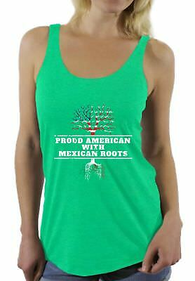 Proud American With Mexican Roots Racerback Tank Top Mexico Tank 4th of July