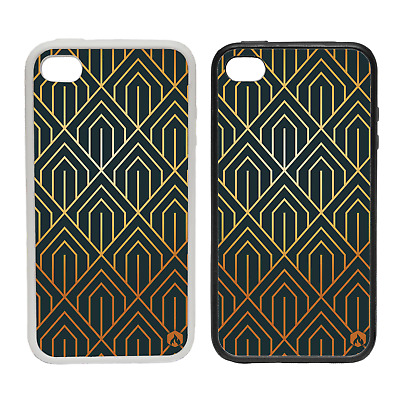 GOLD PATTERN ART DECO RUBBER AND PLASTIC PHONE COVER CASE 1 BLACK GOLDEN