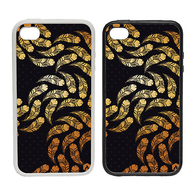 GOLD PATTERN CUBES RUBBER AND PLASTIC PHONE COVER CASE 1 BLACK GOLDEN