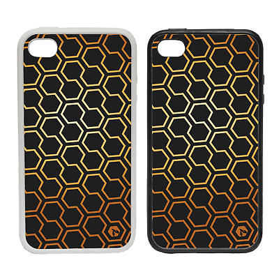 GOLD PATTERN HEXAGONS RUBBER AND PLASTIC PHONE COVER CASE 1 BLACK GOLDEN