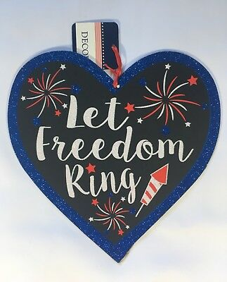 4th Of July Independence Day Patriotic Glitter Heart Hanging WallDoor Sign
